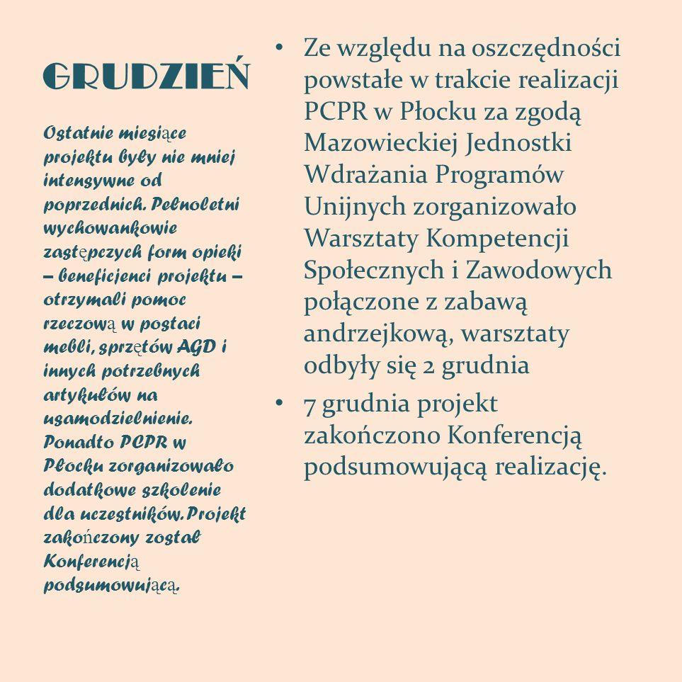 GRUDZIE Ń Ze względu na oszczędności powstałe w trakcie realizacji PCPR w Płocku za zgodą Mazowieckiej Jednostki Wdrażania Programów Unijnych zorganiz