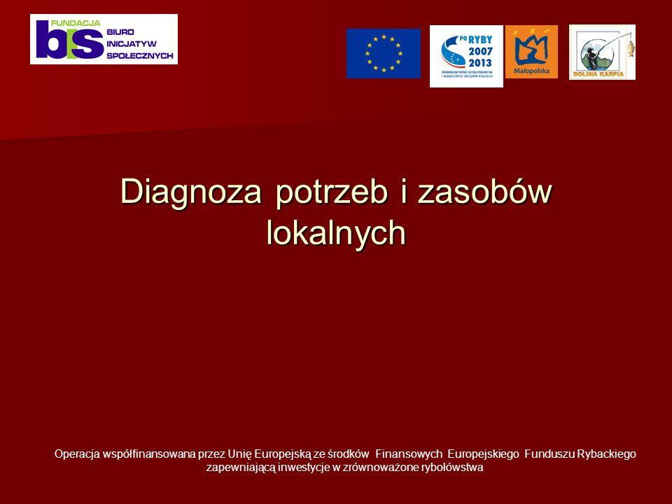 Diagnoza potrzeb i zasobów lokalnych Operacja współfinansowana przez Unię Europejską ze środków Finansowych Europejskiego Funduszu Rybackiego zapewniającą inwestycje w zrównoważone rybołówstwa