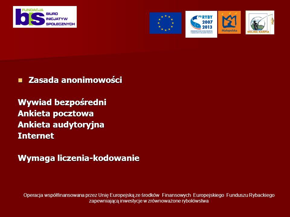 Zasada anonimowości Zasada anonimowości Wywiad bezpośredni Ankieta pocztowa Ankieta audytoryjna Internet Wymaga liczenia-kodowanie Operacja współfinansowana przez Unię Europejską ze środków Finansowych Europejskiego Funduszu Rybackiego zapewniającą inwestycje w zrównoważone rybołówstwa