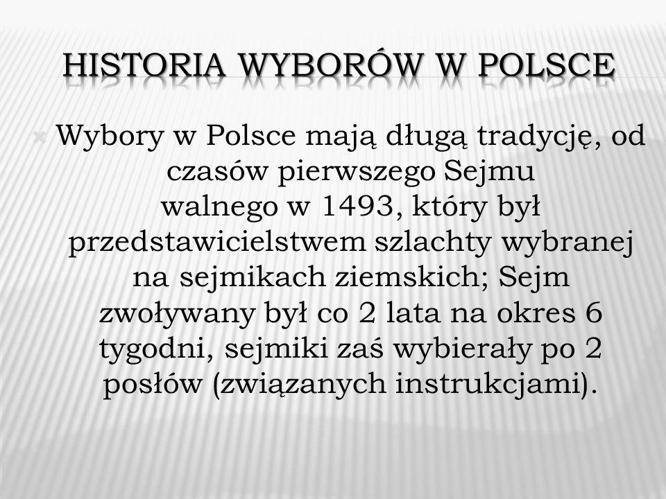 Wybory w Polsce mają długą tradycję, od czasów pierwszego Sejmu walnego w 1493, który był przedstawicielstwem szlachty wybranej na sejmikach ziemskich