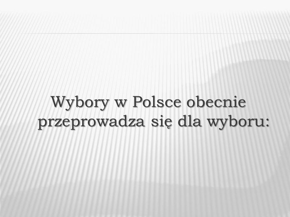 Wybory w Polsce obecnie przeprowadza się dla wyboru:
