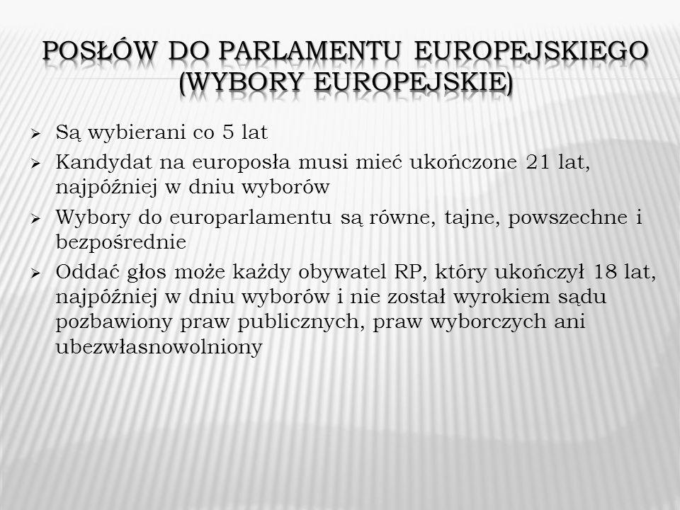 Są wybierani co 5 lat Kandydat na europosła musi mieć ukończone 21 lat, najpóźniej w dniu wyborów Wybory do europarlamentu są równe, tajne, powszechne