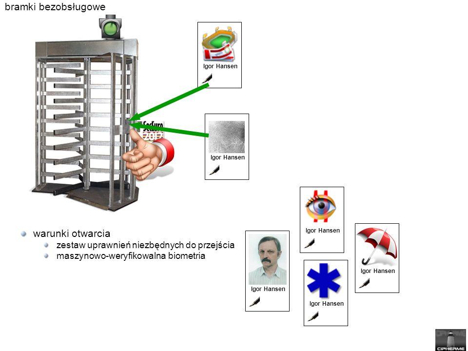 bramki bezobsługowe warunki otwarcia zestaw uprawnień niezbędnych do przejścia maszynowo-weryfikowalna biometria Igor Hansen