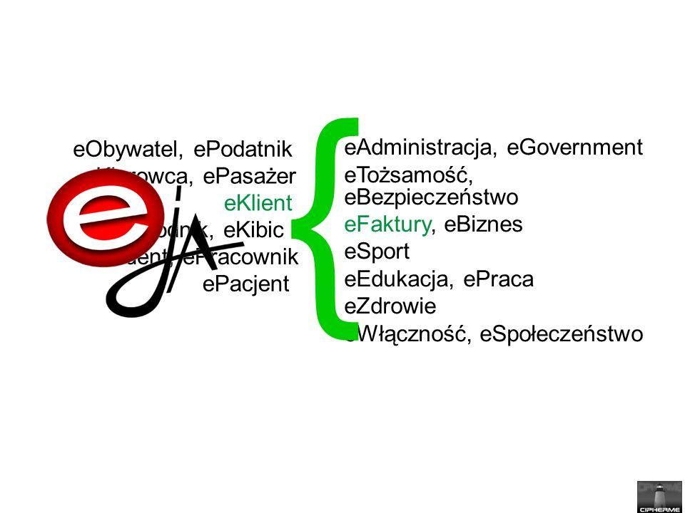 eAdministracja, eGovernment eTożsamość, eBezpieczeństwo eFaktury, eBiznes eSport eEdukacja, ePraca eZdrowie eWłączność, eSpołeczeństwo { eObywatel, ePodatnik eKierowca, ePasażer eKlient eStudent, ePracownik ePacjent eZawodnik, eKibic