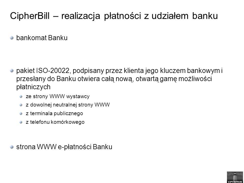 bankomat Banku pakiet ISO-20022, podpisany przez klienta jego kluczem bankowym i przesłany do Banku otwiera całą nową, otwartą gamę możliwości płatniczych ze strony WWW wystawcy z dowolnej neutralnej strony WWW z terminala publicznego z telefonu komórkowego strona WWW e-płatności Banku CipherBill – realizacja płatności z udziałem banku
