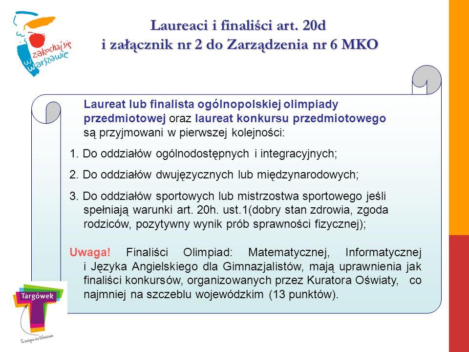 Laureaci i finaliści art. 20d i załącznik nr 2 do Zarządzenia nr 6 MKO Laureat lub finalista ogólnopolskiej olimpiady przedmiotowej oraz laureat konku