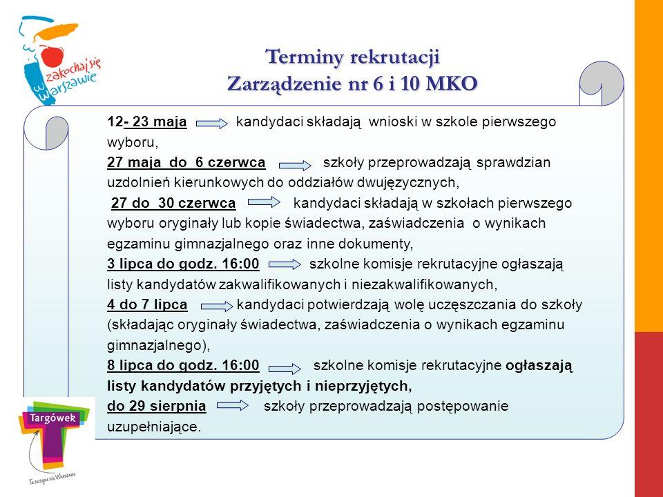 Terminy rekrutacji Zarządzenie nr 6 i 10 MKO 12- 23 maja kandydaci składają wnioski w szkole pierwszego wyboru, 27 maja do 6 czerwca szkoły przeprowad