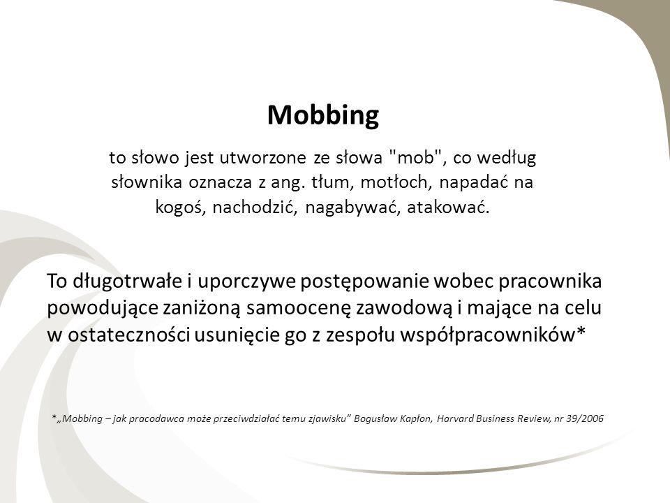 MOBBING W PRACY Mobbing to słowo jest utworzone ze słowa