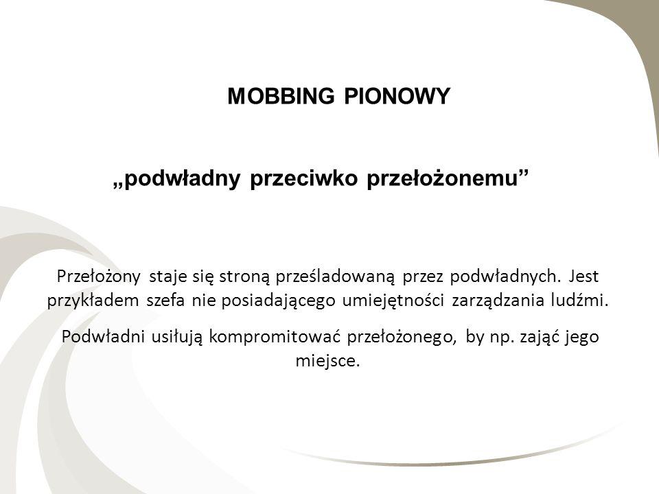 MOBBING PIONOWY podwładny przeciwko przełożonemu Przełożony staje się stroną prześladowaną przez podwładnych. Jest przykładem szefa nie posiadającego