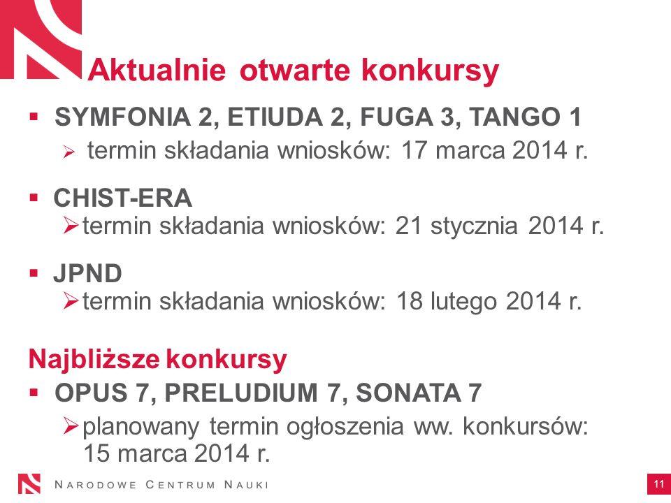 Aktualnie otwarte konkursy SYMFONIA 2, ETIUDA 2, FUGA 3, TANGO 1 termin składania wniosków: 17 marca 2014 r. CHIST-ERA termin składania wniosków: 21 s