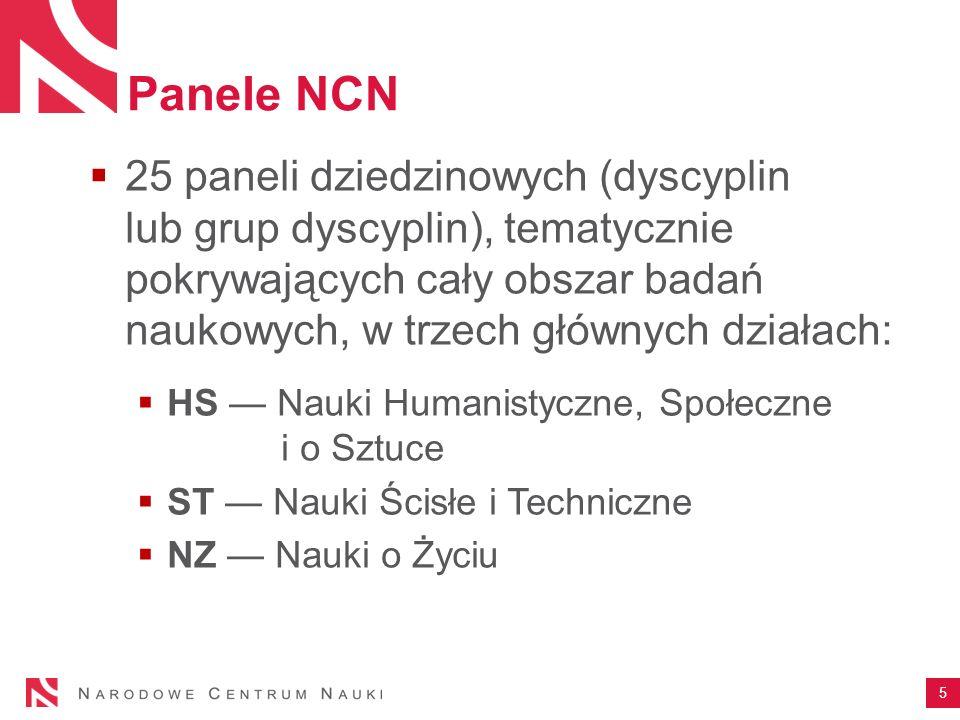 Panele NCN 25 paneli dziedzinowych (dyscyplin lub grup dyscyplin), tematycznie pokrywających cały obszar badań naukowych, w trzech głównych działach: HS Nauki Humanistyczne, Społeczne i o Sztuce ST Nauki Ścisłe i Techniczne NZ Nauki o Życiu 5