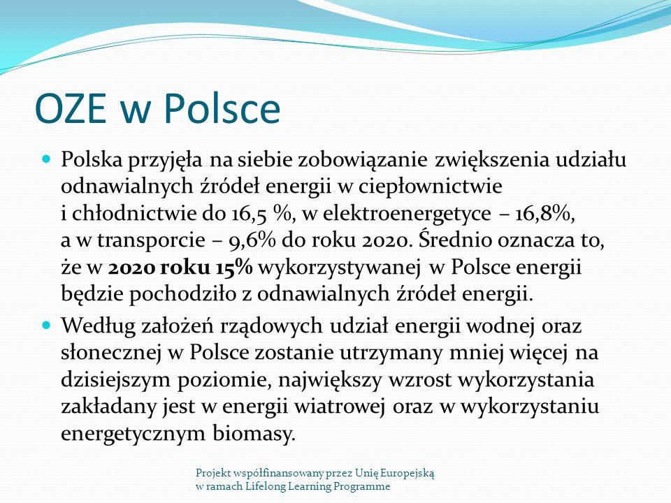 OZE w Polsce Polska przyjęła na siebie zobowiązanie zwiększenia udziału odnawialnych źródeł energii w ciepłownictwie i chłodnictwie do 16,5 %, w elektroenergetyce – 16,8%, a w transporcie – 9,6% do roku 2020.
