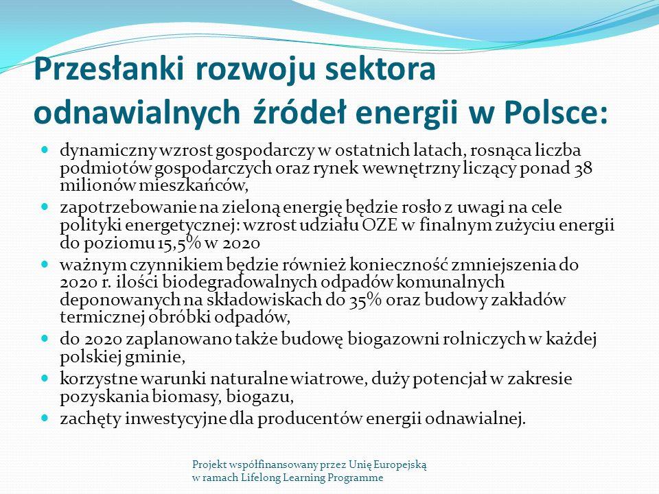 Przesłanki rozwoju sektora odnawialnych źródeł energii w Polsce: dynamiczny wzrost gospodarczy w ostatnich latach, rosnąca liczba podmiotów gospodarczych oraz rynek wewnętrzny liczący ponad 38 milionów mieszkańców, zapotrzebowanie na zieloną energię będzie rosło z uwagi na cele polityki energetycznej: wzrost udziału OZE w finalnym zużyciu energii do poziomu 15,5% w 2020 ważnym czynnikiem będzie również konieczność zmniejszenia do 2020 r.