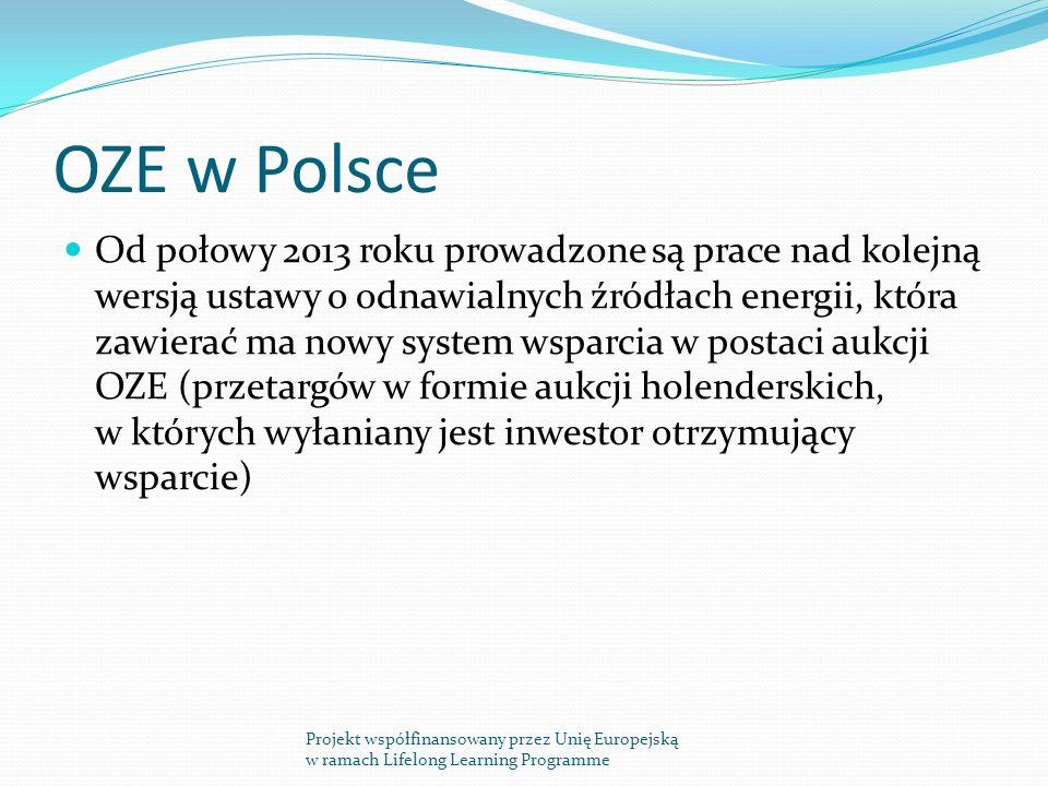 OZE w Polsce Od połowy 2013 roku prowadzone są prace nad kolejną wersją ustawy o odnawialnych źródłach energii, która zawierać ma nowy system wsparcia w postaci aukcji OZE (przetargów w formie aukcji holenderskich, w których wyłaniany jest inwestor otrzymujący wsparcie) Projekt współfinansowany przez Unię Europejską w ramach Lifelong Learning Programme