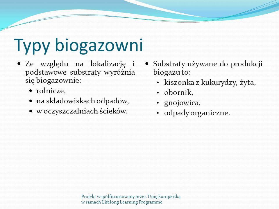 Typy biogazowni Ze względu na lokalizację i podstawowe substraty wyróżnia się biogazownie: rolnicze, na składowiskach odpadów, w oczyszczalniach ścieków.