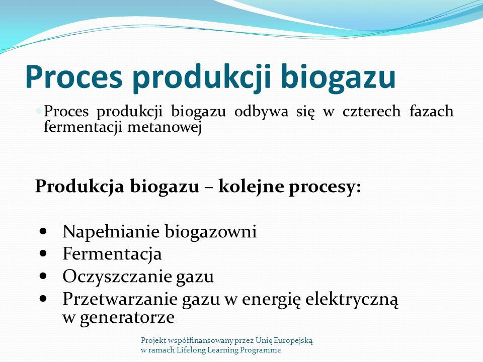 Proces produkcji biogazu Proces produkcji biogazu odbywa się w czterech fazach fermentacji metanowej Produkcja biogazu – kolejne procesy: Napełnianie biogazowni Fermentacja Oczyszczanie gazu Przetwarzanie gazu w energię elektryczną w generatorze Projekt współfinansowany przez Unię Europejską w ramach Lifelong Learning Programme