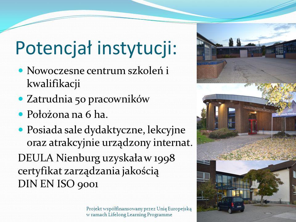 Potencjał instytucji: Nowoczesne centrum szkoleń i kwalifikacji Zatrudnia 50 pracowników Położona na 6 ha.