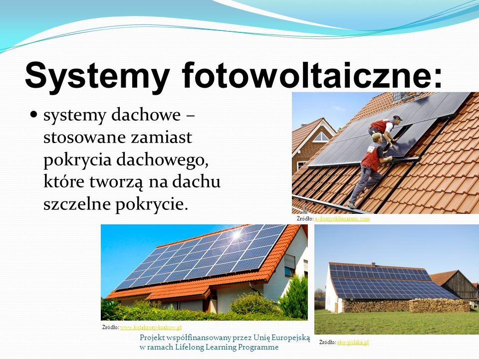 Systemy fotowoltaiczne: systemy dachowe – stosowane zamiast pokrycia dachowego, które tworzą na dachu szczelne pokrycie.
