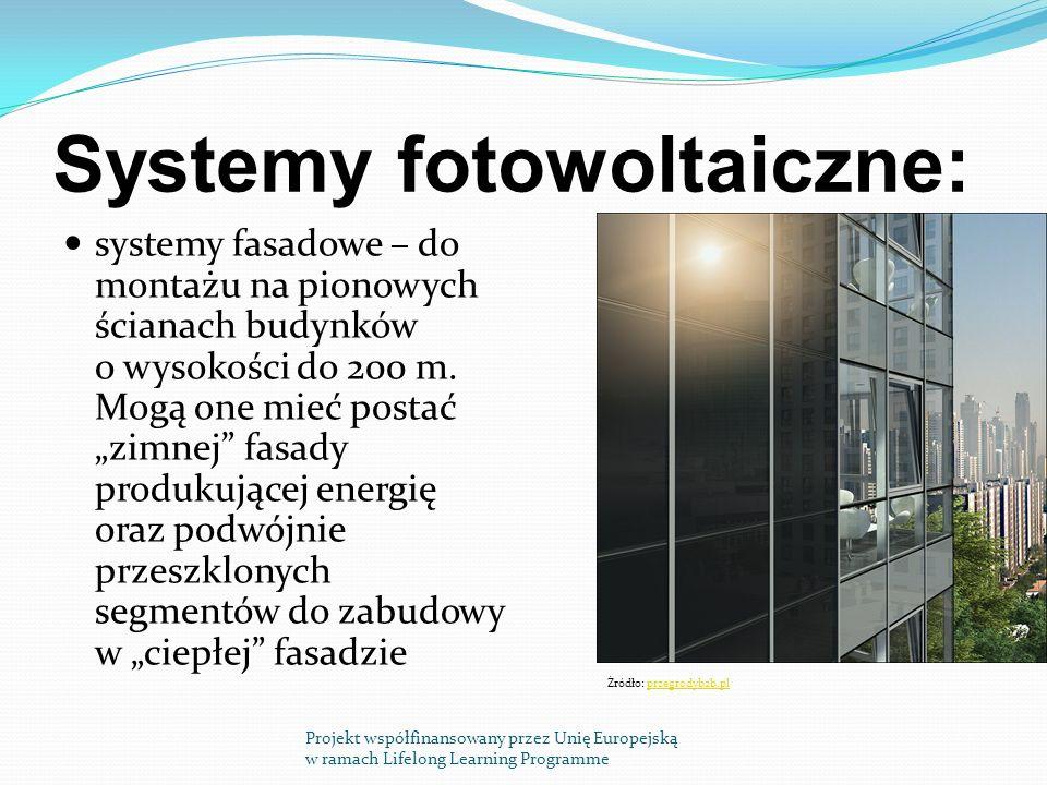 Systemy fotowoltaiczne: systemy fasadowe – do montażu na pionowych ścianach budynków o wysokości do 200 m.