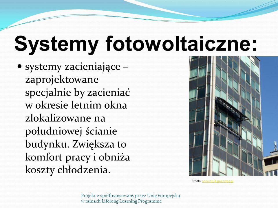 Systemy fotowoltaiczne: systemy zacieniające – zaprojektowane specjalnie by zacieniać w okresie letnim okna zlokalizowane na południowej ścianie budynku.