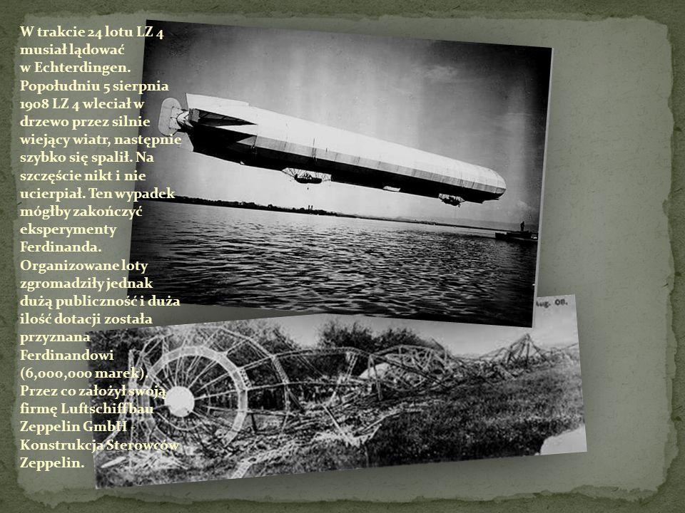 W trakcie 24 lotu LZ 4 musiał lądować w Echterdingen.