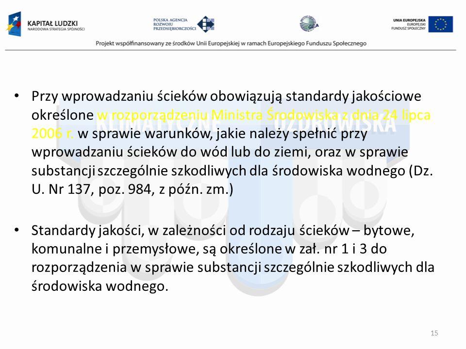 Przy wprowadzaniu ścieków obowiązują standardy jakościowe określone w rozporządzeniu Ministra Środowiska z dnia 24 lipca 2006 r. w sprawie warunków, j