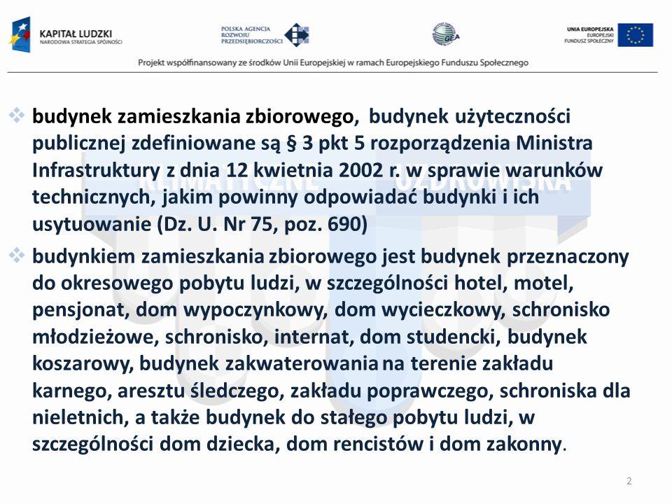 budynek zamieszkania zbiorowego, budynek użyteczności publicznej zdefiniowane są § 3 pkt 5 rozporządzenia Ministra Infrastruktury z dnia 12 kwietnia 2