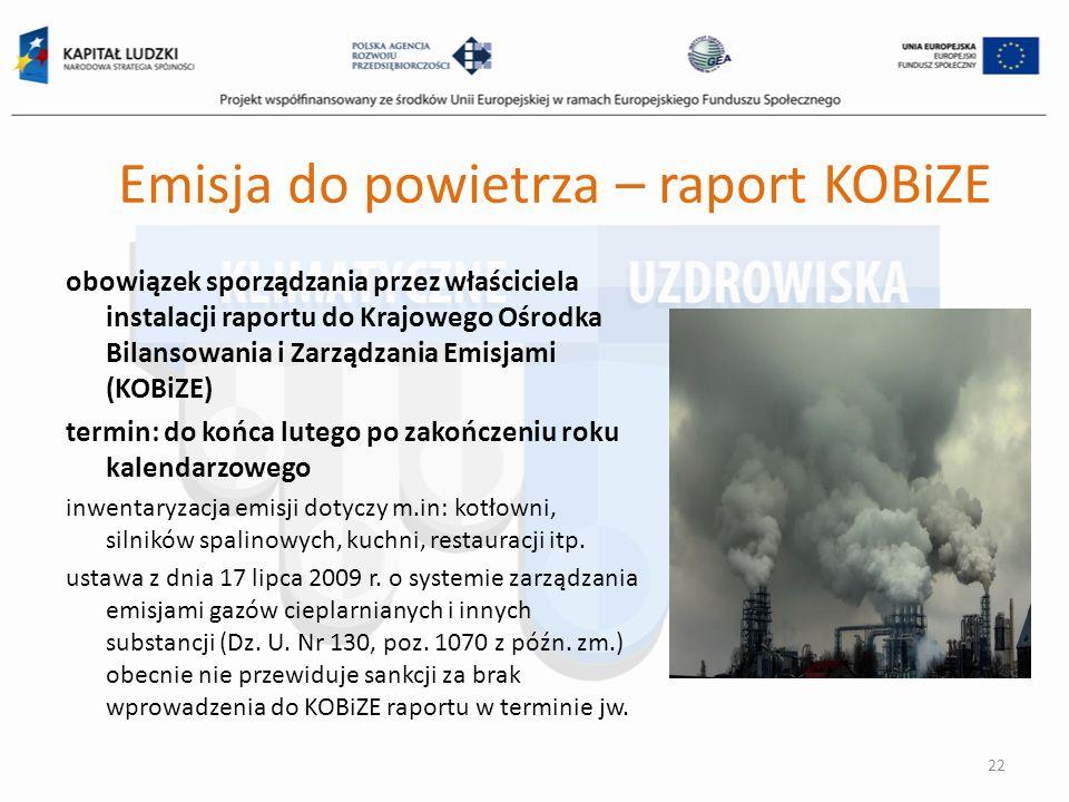 Emisja do powietrza – raport KOBiZE obowiązek sporządzania przez właściciela instalacji raportu do Krajowego Ośrodka Bilansowania i Zarządzania Emisja