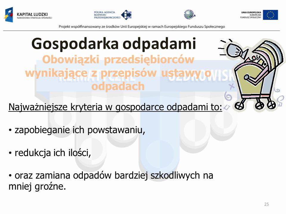 Gospodarka odpadami 25 Obowiązki przedsiębiorców wynikające z przepisów ustawy o odpadach Najważniejsze kryteria w gospodarce odpadami to: zapobiegani