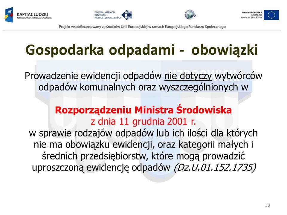 Prowadzenie ewidencji odpadów nie dotyczy wytwórców odpadów komunalnych oraz wyszczególnionych w Rozporządzeniu Ministra Środowiska z dnia 11 grudnia