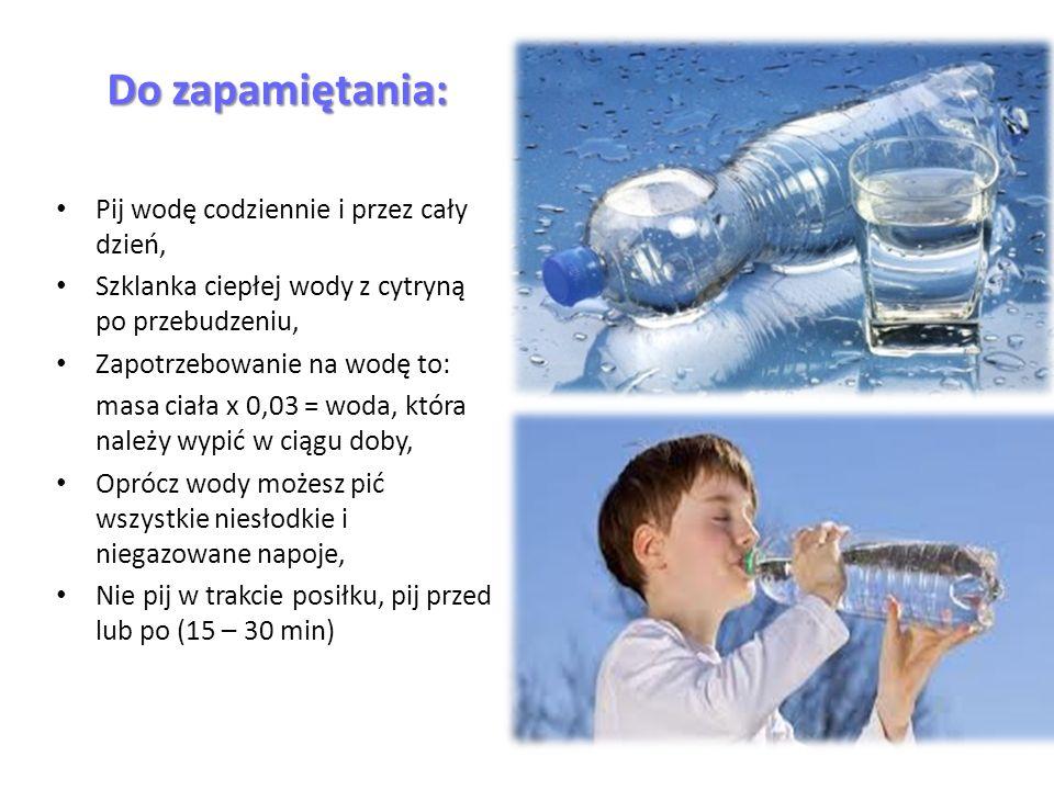 Do zapamiętania: Pij wodę codziennie i przez cały dzień, Szklanka ciepłej wody z cytryną po przebudzeniu, Zapotrzebowanie na wodę to: masa ciała x 0,03 = woda, która należy wypić w ciągu doby, Oprócz wody możesz pić wszystkie niesłodkie i niegazowane napoje, Nie pij w trakcie posiłku, pij przed lub po (15 – 30 min)