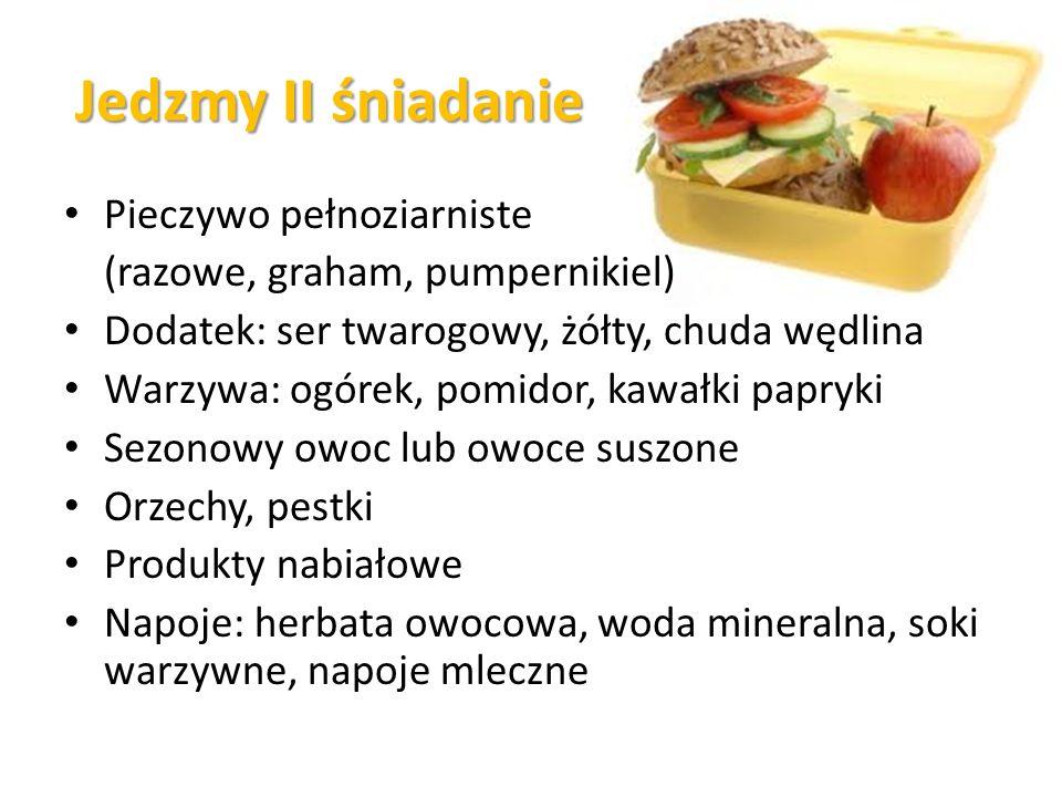 Jedzmy II śniadanie Pieczywo pełnoziarniste (razowe, graham, pumpernikiel) Dodatek: ser twarogowy, żółty, chuda wędlina Warzywa: ogórek, pomidor, kawałki papryki Sezonowy owoc lub owoce suszone Orzechy, pestki Produkty nabiałowe Napoje: herbata owocowa, woda mineralna, soki warzywne, napoje mleczne