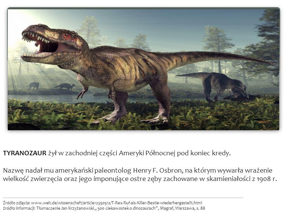 TYRANOZAUR żył w zachodniej części Ameryki Północnej pod koniec kredy.