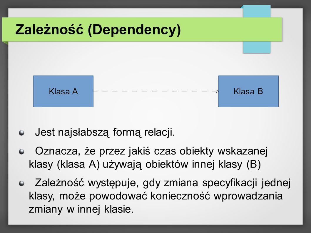 Asocjacja (Association) Asocjacja reprezentuje czasowe powiązanie pomiędzy obiektami dwóch klas.