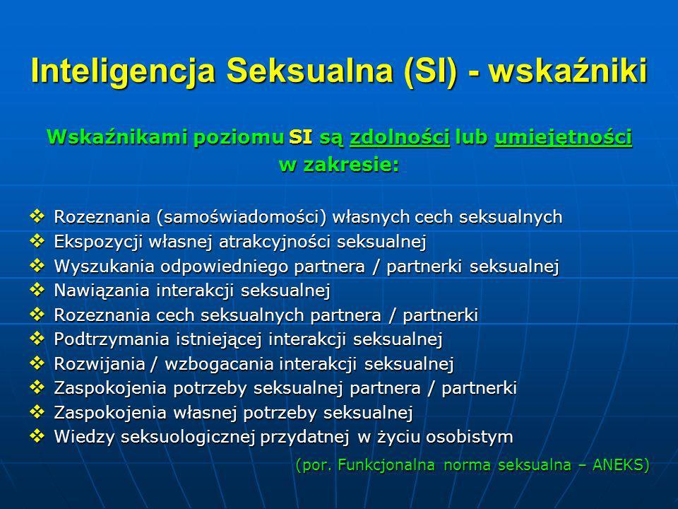 Inteligencja Seksualna (SI) - wskaźniki Wskaźnikami poziomu SI są zdolności lub umiejętności w zakresie: Rozeznania (samoświadomości) własnych cech se