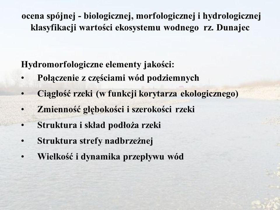 ocena spójnej - biologicznej, morfologicznej i hydrologicznej klasyfikacji wartości ekosystemu wodnego rz. Dunajec Hydromorfologiczne elementy jakości