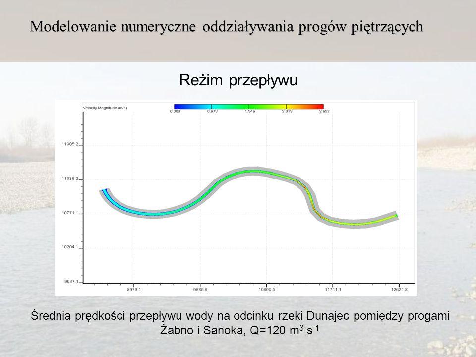Modelowanie numeryczne oddziaływania progów piętrzących Reżim przepływu Średnia prędkości przepływu wody na odcinku rzeki Dunajec pomiędzy progami Żabno i Sanoka, Q=120 m 3 s -1