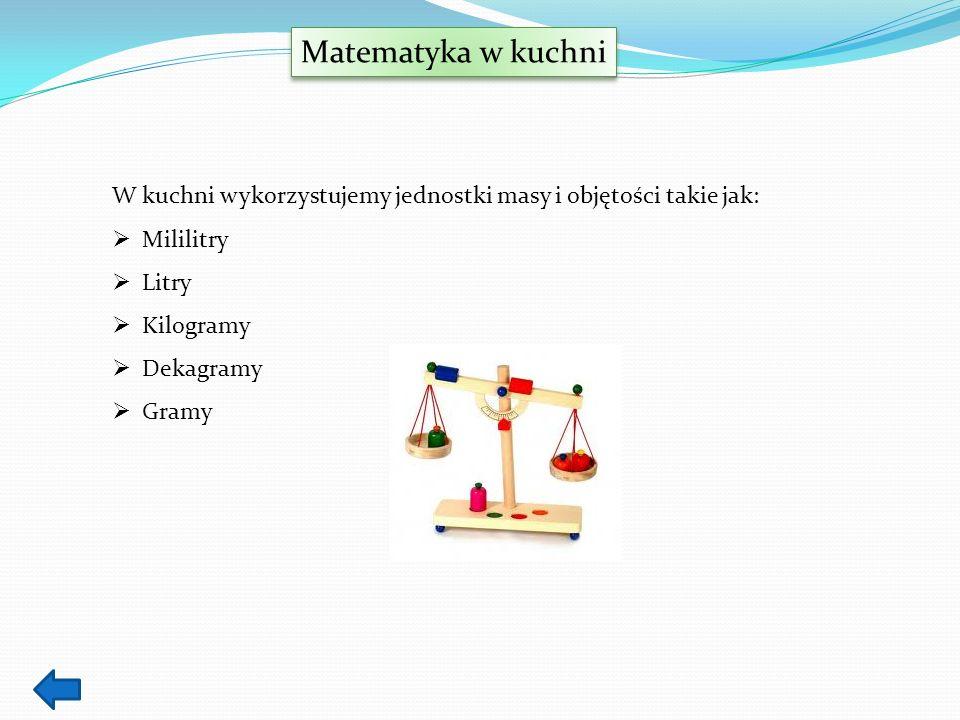 Matematyka w kuchni W kuchni wykorzystujemy jednostki masy i objętości takie jak: Mililitry Litry Kilogramy Dekagramy Gramy