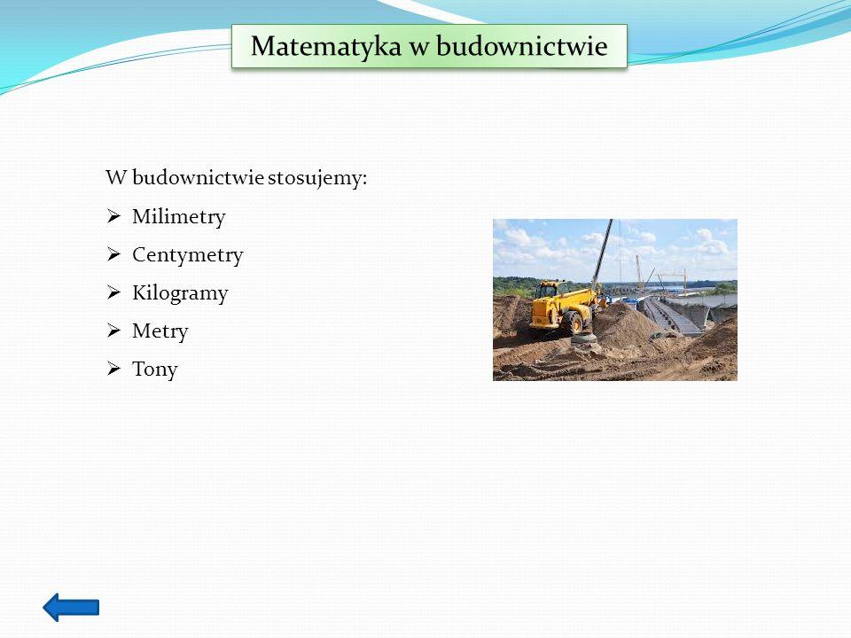 Matematyka w budownictwie W budownictwie stosujemy: Milimetry Centymetry Kilogramy Metry Tony