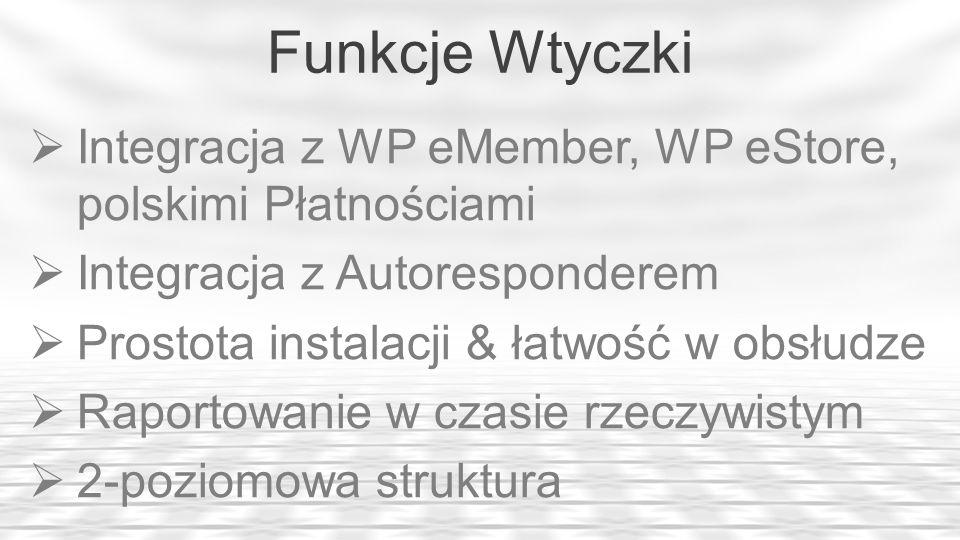 Funkcje Wtyczki Integracja z WP eMember, WP eStore, polskimi Płatnościami Integracja z Autoresponderem Prostota instalacji & łatwość w obsłudze Raport