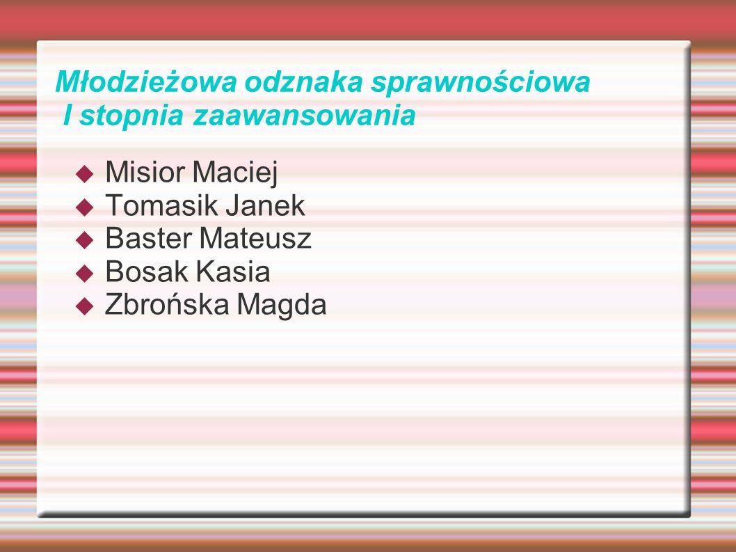Młodzieżowa odznaka sprawnościowa I stopnia zaawansowania Misior Maciej Tomasik Janek Baster Mateusz Bosak Kasia Zbrońska Magda