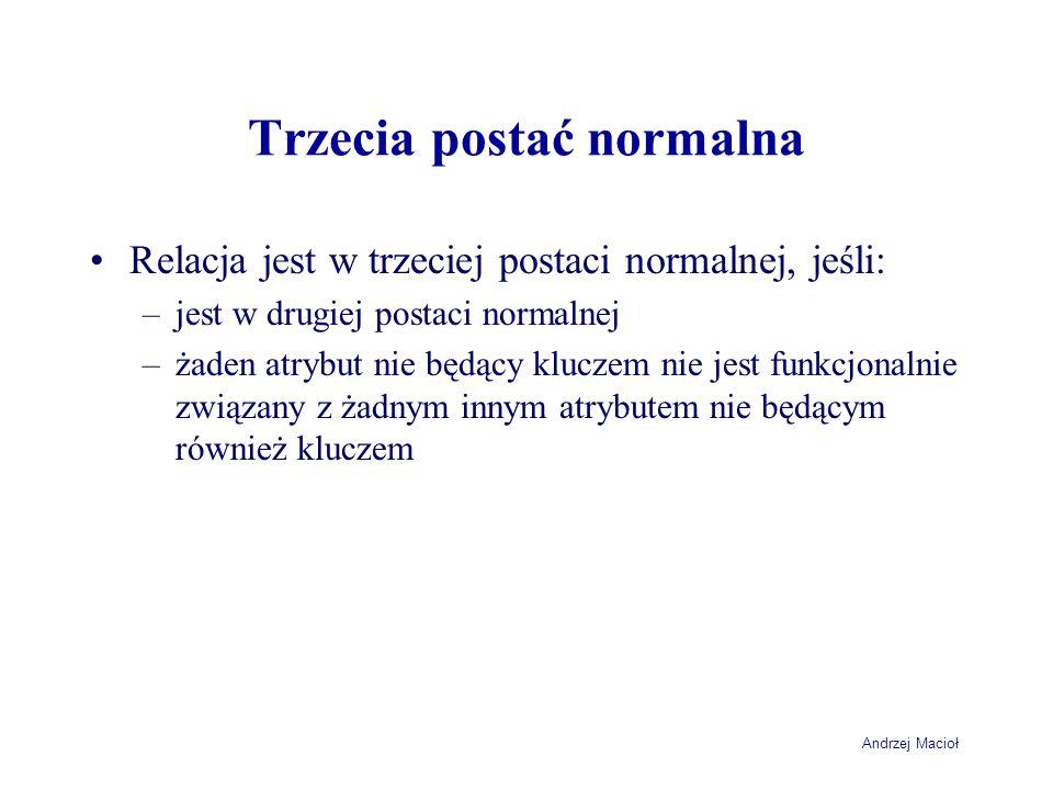 Andrzej Macioł Trzecia postać normalna Relacja jest w trzeciej postaci normalnej, jeśli: –jest w drugiej postaci normalnej –żaden atrybut nie będący kluczem nie jest funkcjonalnie związany z żadnym innym atrybutem nie będącym również kluczem