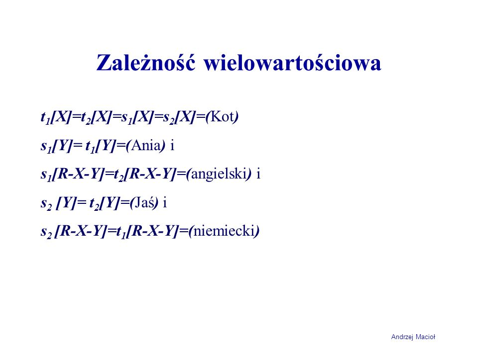 Andrzej Macioł Zależność wielowartościowa t 1 [X]=t 2 [X]=s 1 [X]=s 2 [X]=(Kot) s 1 [Y]= t 1 [Y]=(Ania) i s 1 [R-X-Y]=t 2 [R-X-Y]=(angielski) i s 2 [Y]= t 2 [Y]=(Jaś) i s 2 [R-X-Y]=t 1 [R-X-Y]=(niemiecki)
