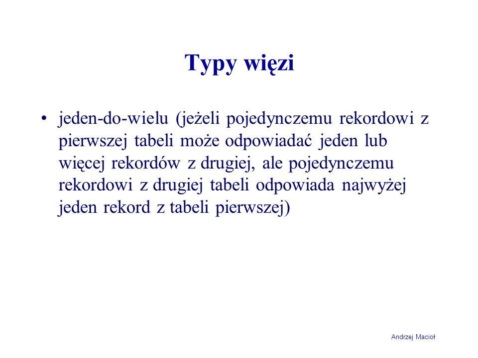 Andrzej Macioł Typy więzi jeden-do-wielu (jeżeli pojedynczemu rekordowi z pierwszej tabeli może odpowiadać jeden lub więcej rekordów z drugiej, ale pojedynczemu rekordowi z drugiej tabeli odpowiada najwyżej jeden rekord z tabeli pierwszej)