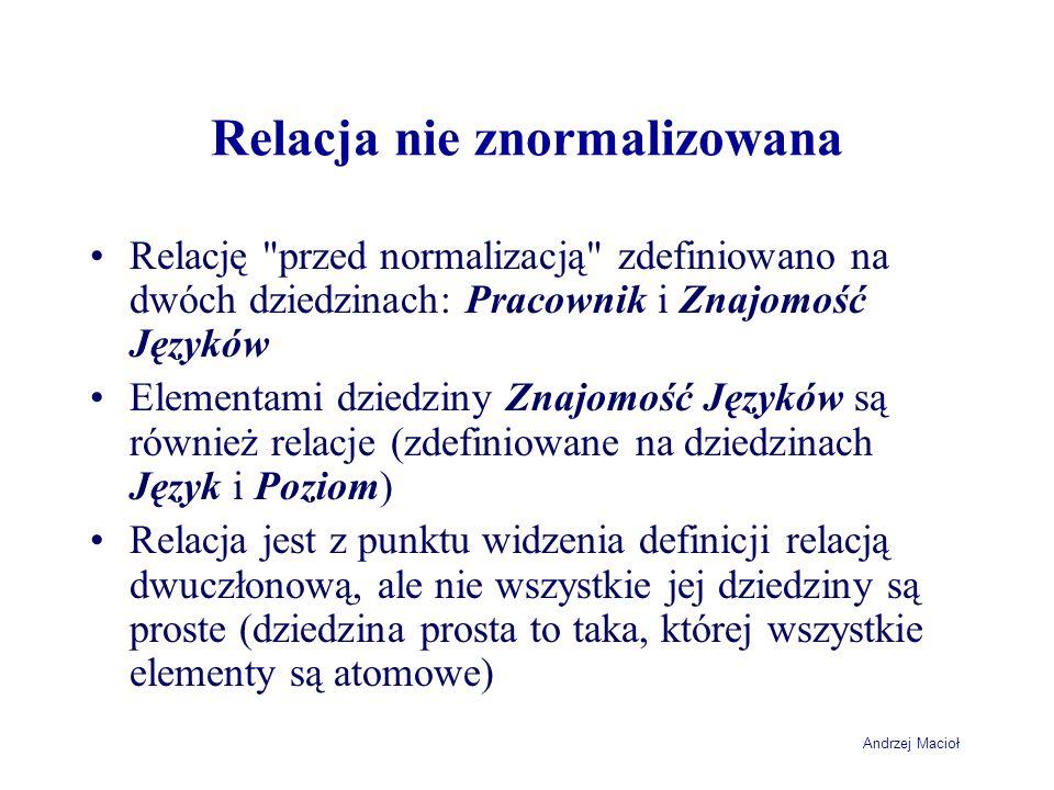Andrzej Macioł Relacja nie znormalizowana Relację przed normalizacją zdefiniowano na dwóch dziedzinach: Pracownik i Znajomość Języków Elementami dziedziny Znajomość Języków są również relacje (zdefiniowane na dziedzinach Język i Poziom) Relacja jest z punktu widzenia definicji relacją dwuczłonową, ale nie wszystkie jej dziedziny są proste (dziedzina prosta to taka, której wszystkie elementy są atomowe)