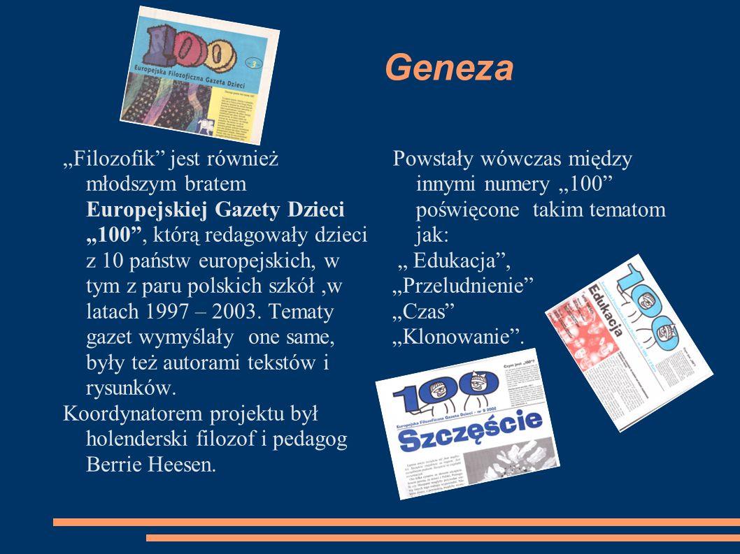 Geneza Filozofik jest również młodszym bratem Europejskiej Gazety Dzieci 100, którą redagowały dzieci z 10 państw europejskich, w tym z paru polskich