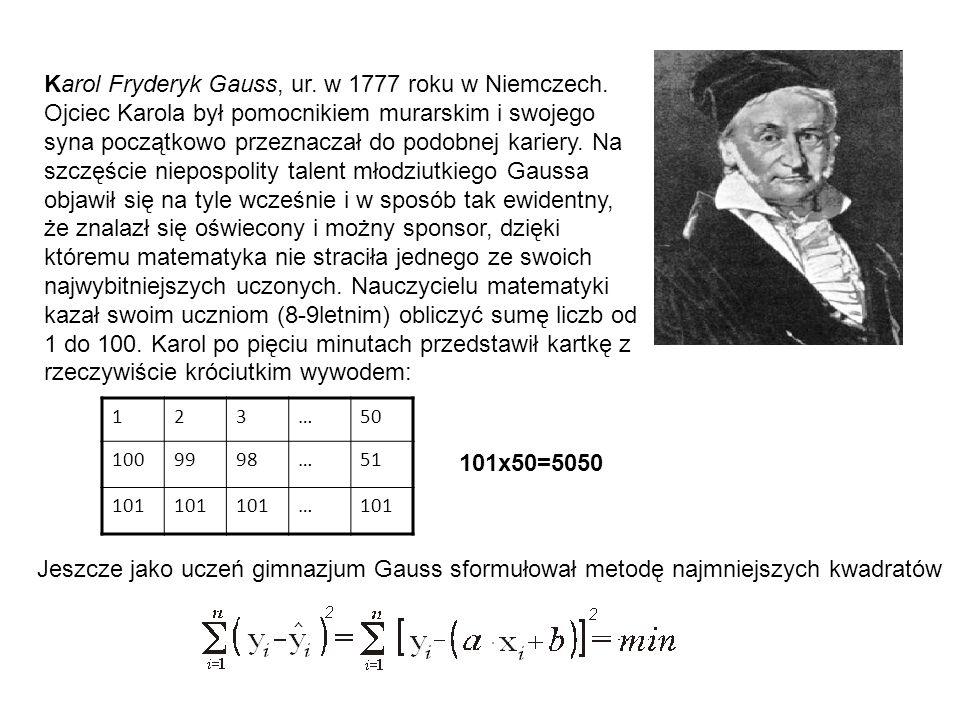 Karol Fryderyk Gauss, ur. w 1777 roku w Niemczech. Ojciec Karola był pomocnikiem murarskim i swojego syna początkowo przeznaczał do podobnej kariery.