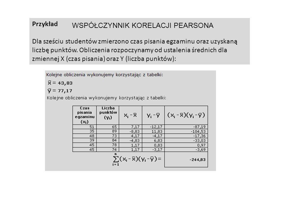 Przykład Dla sześciu studentów zmierzono czas pisania egzaminu oraz uzyskaną liczbę punktów. Obliczenia rozpoczynamy od ustalenia średnich dla zmienne