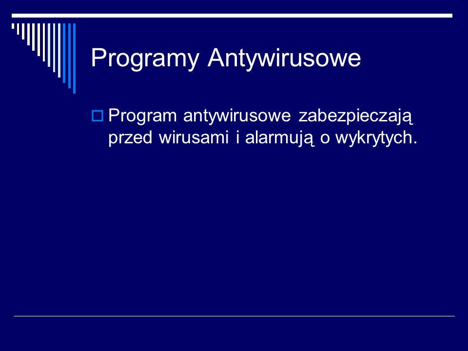 Programy Antywirusowe Program antywirusowe zabezpieczają przed wirusami i alarmują o wykrytych.