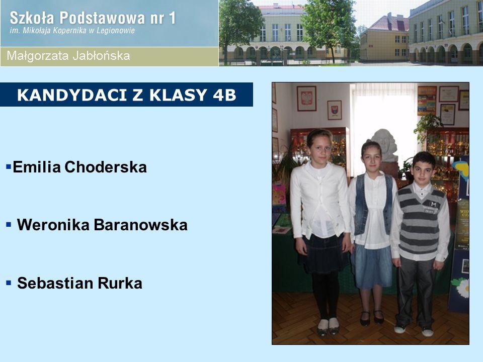 KANDYDACI Z KLASY 4B Emilia Choderska Weronika Baranowska Sebastian Rurka